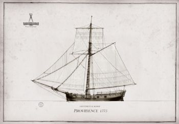 1775 Continental Sloop Providence pen ink study